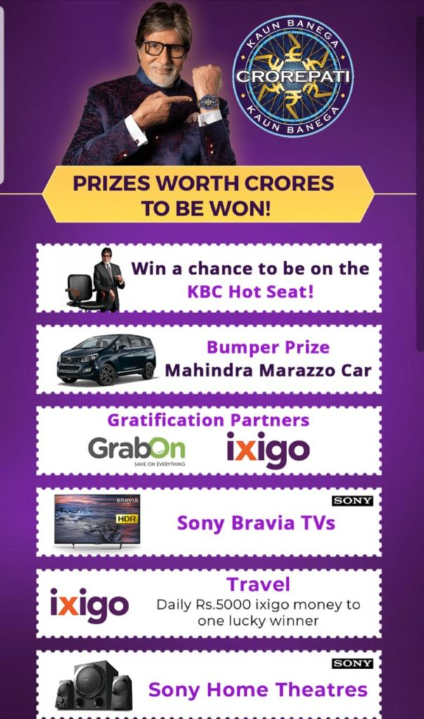 KBC Play Along Prizes