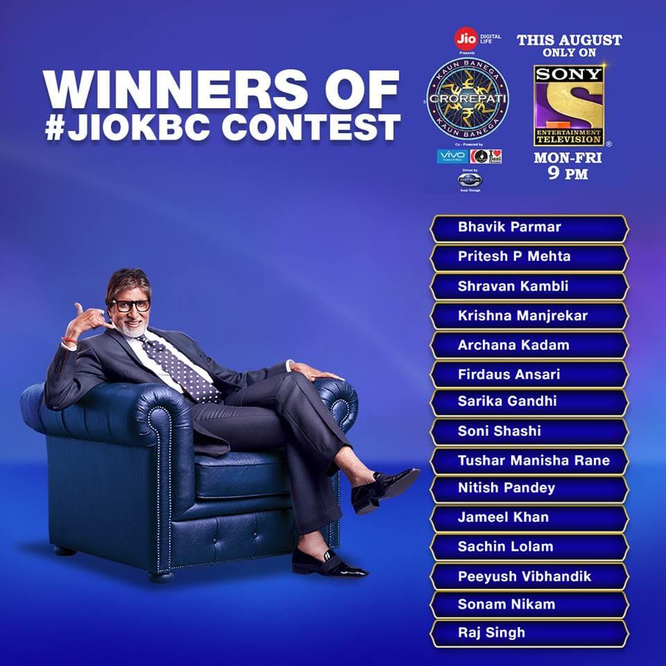 kbc jio contest winners