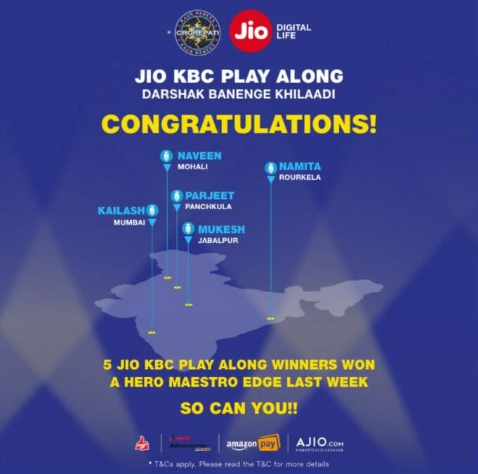 Congratulation 5 Jio Play Along Winners for winning Hero Maestro