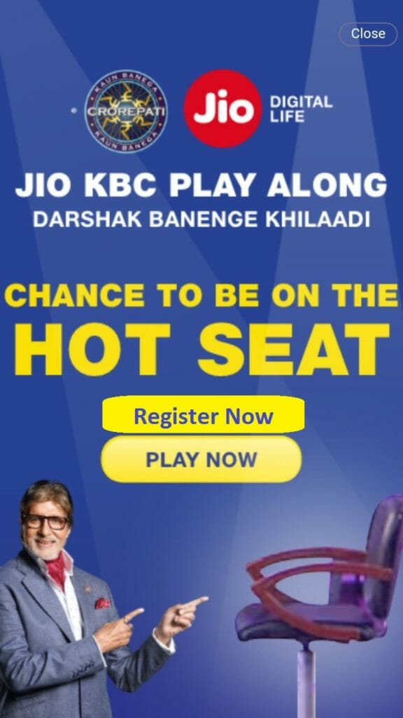 KBC Along Episodes for Jio Play Along Contestant from 30th October : Register Now
