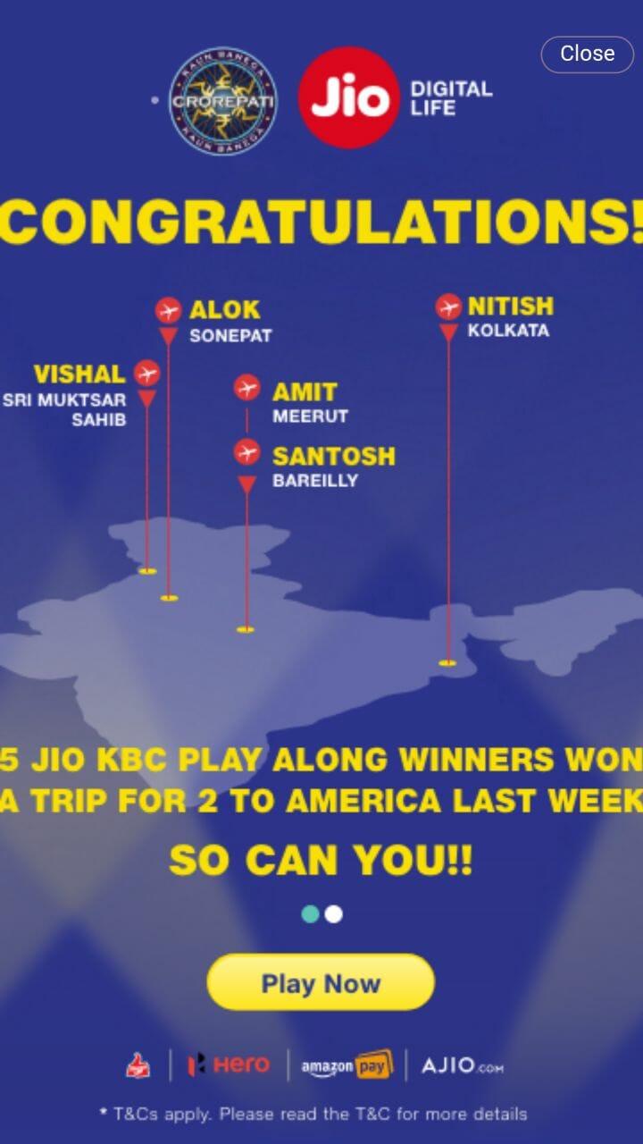 kbc jio play along winner