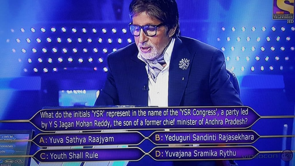 What do the initials 'YSR' represents in the name of the 'YSR Congress', a party led by YS Jagan Mohan Reddy, the son of a farmer chief minister of Andhra Pradesh?