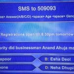 KBC Registration Ques 14: Which celebrity did businessman Anand Ahuja marry in 2018?