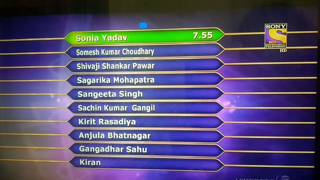 Here are Top Ten Contestant of the First week Dated 3rd Sep : KBC Season 10