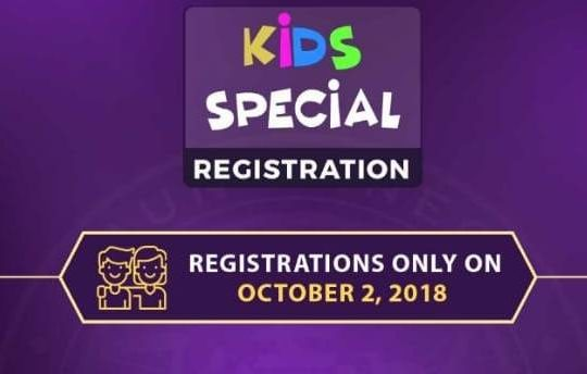 KBC Kids Registration – Special Episodes starting 6 October
