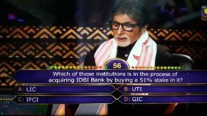 IDBI LIC KBC Question