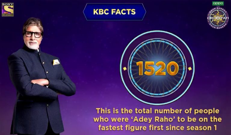 KBC Fact : Total number of people who were 'Adey Raho' to be on the fastest figure first since season 1