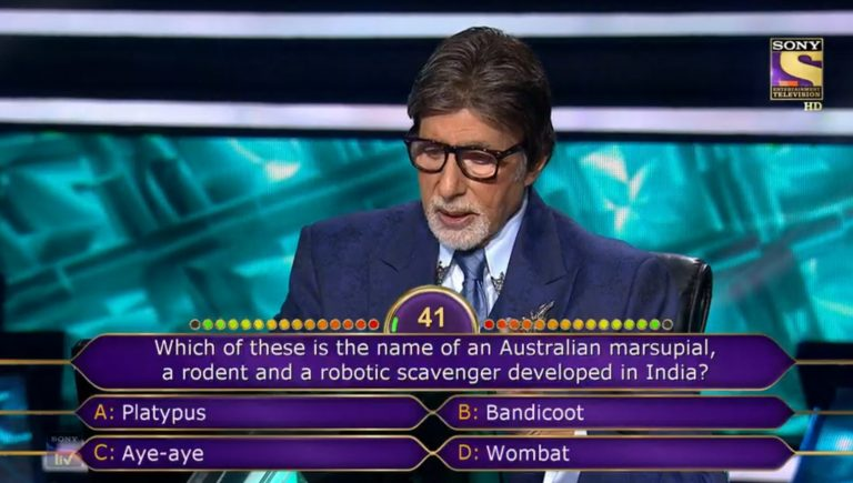 Ques : Which of these is the name of an Australian marsupial, a rodent and a robotic scavenger developed in India?