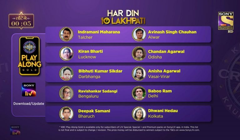 KBC Play Along Gold Winner – Episode 25 – Here are top 10 Names – Play Now