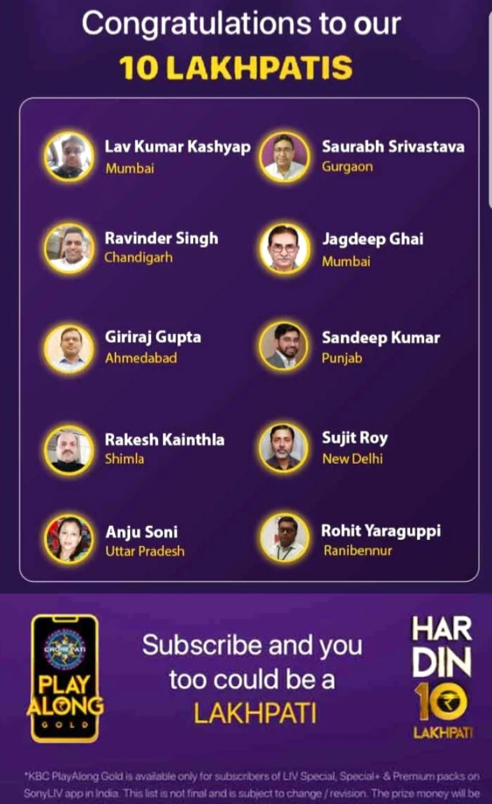 KBC Play Along Gold Winner – Episode 4 – Here are top 10 Names – Play Now