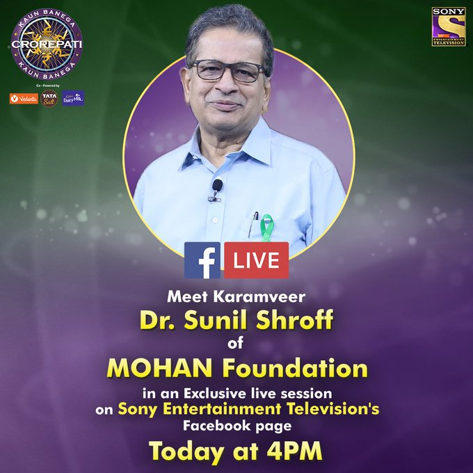 Catch our Karamveer Dr. Sunil Shroff of MOHAN Foundation on an exclusive FB live at 4 PM