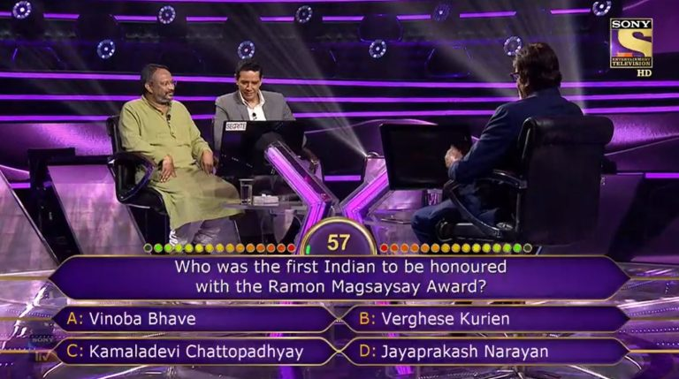 Ques : Who was the first Indian to be honoured with the Ramon Magsaysay Award?