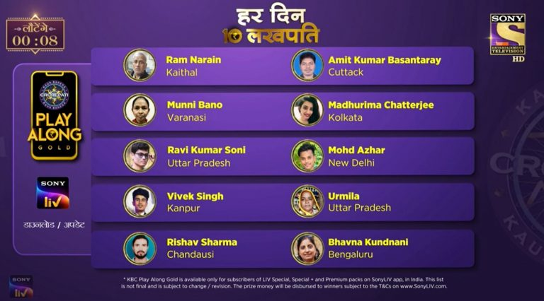 KBC Play Along Gold Winner – Episode 58 – Here are top 10 Names – Play Now