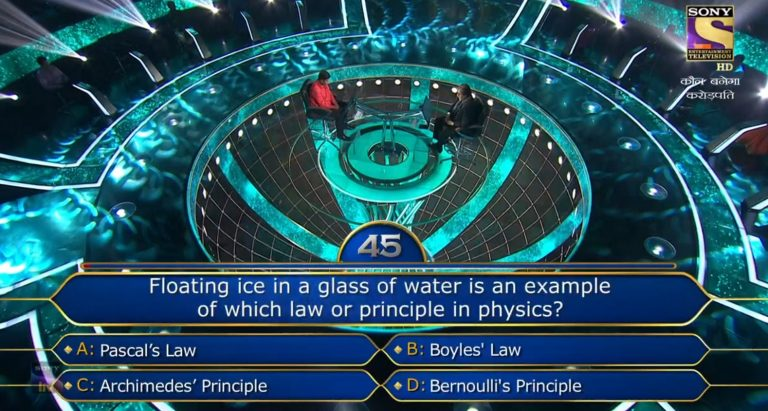 Ques : Floating ice in a glass of water is an example of which law or principle in physics?