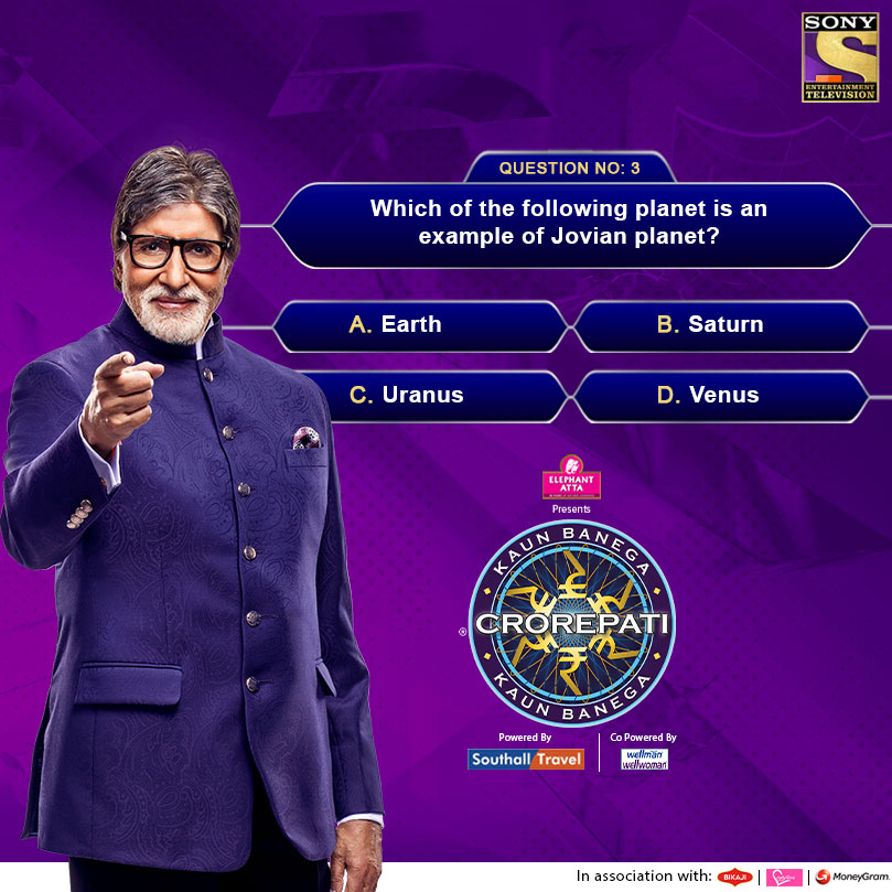 KBC Question : Which of the following planet is an example of Jovian planet?