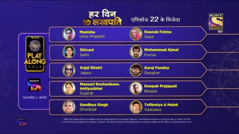 Congratulations to our 10 Lakhpatis from 21st September – KBC Play Along