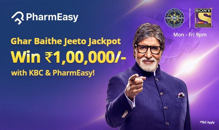 Pharmeasy Ghar Baitho Jeeto jackpot Contest KBC