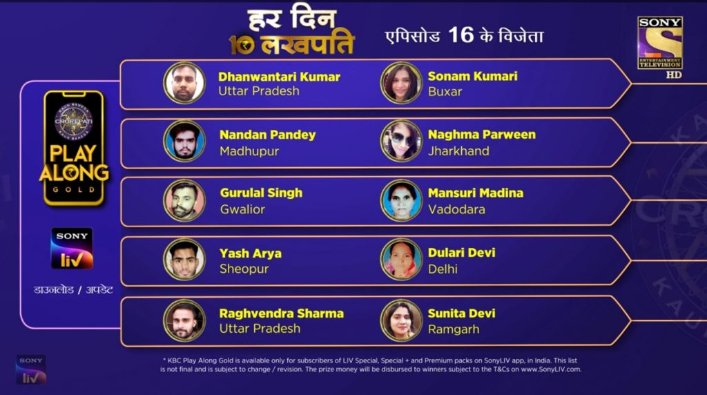 Congratulations to our 10 Lakhpatis from 13th September – KBC Play Along Gold