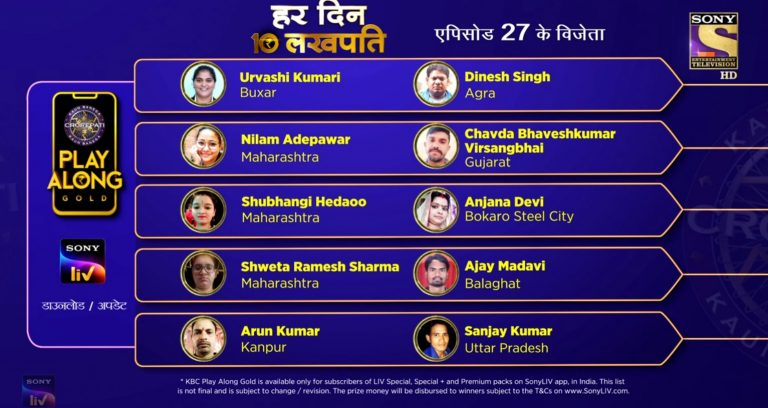 Congratulations to our 10 Lakhpatis from 28th September – KBC Play Along Gold