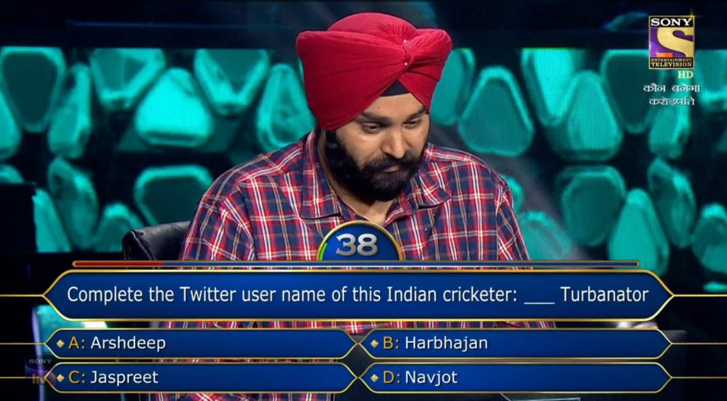 Ques : Complete the Twitter user name of this Indian cricketer:_________ Turbanator