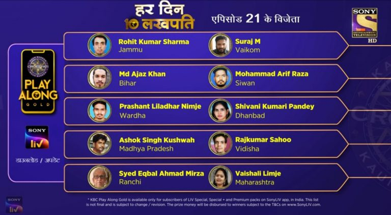 Congratulations to our 10 Lakhpatis from 20th September – KBC Play Along