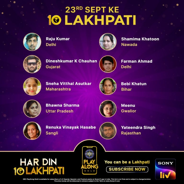 Congratulations to our 10 Lakhpatis from 23rd September – KBC Play Along Winners