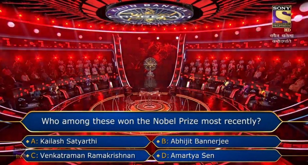 Ques : Who among these won the Nobel Prize most recently?